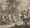 Первое приключение Гудибраса. Сцена 1. Рыцарь-пуританин Гудибрас и Ральфо встречают крестьян, которые для забавы собираются травить медведя. Рыцарь и оруженосец, защищая животное, принимают бой. Иллюстрация к поэме «Гудибрас», Лондон, 1732