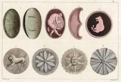 Этрусские щиты (из знаменитой работы Джулио Феррарио Il costume antico e moderno, o, storia... di tutti i popoli antichi e moderni, изданной в Милане в 1820 году (Европа. Том II))