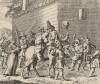 Гудибрас в печали. Сцена 1. Деревенские жители победили рыцаря Гудибраса и его оруженосца. Связанными их везут в деревню. Крестьяне ликуют. Иллюстрация к поэме «Гудибрас». Лондон, 1732