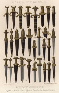 Холодное оружие XIII-XVII вв.: от кухонного ножа до кинжала и рапиры (из Les arts somptuaires... Париж. 1858 год)