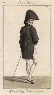 Кашемировые кюлоты, сюртук - элегантный мужской костюм. Из первого французского журнала мод эпохи ампир Journal des dames et des modes, Париж, 1813. Модель № 1303