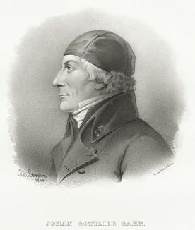 Юхан Готлиб Ган (19 августа 1745 — 8 декабря 1818), химик и минералог, первым получил металлический марганец (1774) и изучил его свойства. Galleri af Utmarkta Svenska larde Mitterhetsidkare orh Konstnarer. Стокгольм, 1842