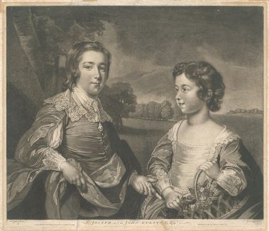 Джон (1750-1764) и Джозеф (1744-1786)  Гулстоны, эсквайры, в детстве. Меццо-тинто Валентина Грина, придворного гравера Георга III.
