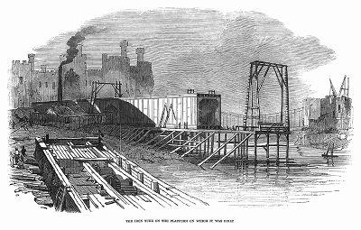 Металлическая туба, изготовленная для железнодорожного моста из трубчатых элементов через реку Конвей в Уэльсе, построенного в 1848 году британским инженером Робертом Стивенсоном (1803 -- 1859) (The Illustrated London News №307 от 11/03/1848 г.)