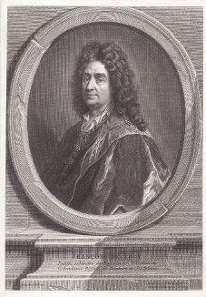 Франсуа де Труа (1645--1730) - французский живописец и гравёр, президент Академии художеств, любимый мастер английского короля Якова II во время его изгнания во Францию. Гравюра Пуалли с автопортрета Труа.