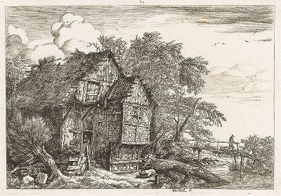 Хижина (Маленький мостик). Офорт Якоба ван Рейсдала, одного из ведущих художников голландской школы XVII века.