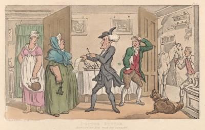 """Доктор Синтакс предъявляет счёт хозяйке гостиницы. Иллюстрация Томаса Роуландсона к поэме Вильяма Комби """"Путешествие доктора Синтакса в поисках живописного"""", л.4. Лондон, 1881"""