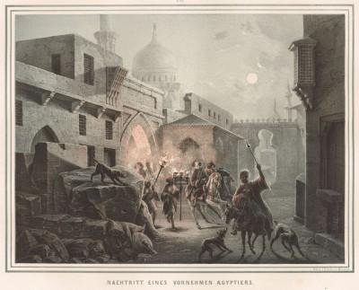 """Ночная сцена в Каире (из """"Путешествия на Восток..."""" герцога Максимилиана Баварского. Штутгарт. 1846 год (лист XVII))"""