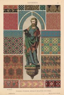 """Статуя Святого Симона в Кёльнском соборе (готическая скульптура из крашеного дерева), а также гобелены и шитьё (лист 42 альбома """"Сокровищница орнаментов..."""", изданного в Штутгарте в 1889 году)"""