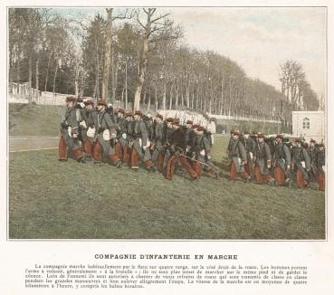 Рота французской пехоты на марше. L'Album militaire. Livraison №2. Infanterie. Serviсe en сampagne. Париж, 1890