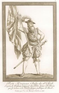 Швейцарский ландскнехт-знаменосец XVI века (акватинта, выполненная по рисунку Ганса Гольбейна младшего, хранящемуся в публичной библиотеке города Базеля. Базель. 1790 год)