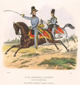 Штаб-офицер и трубач австрийских егерей (из K. K. Oesterreichische Armée nach der neuen Adjustirung in VI. abtheil. II te. Abtheil. Infanterie. Лист 11. Вена. 1837 год)