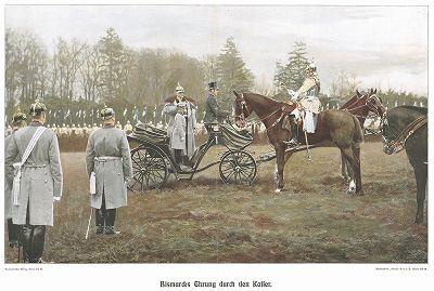 Бисмарк приветствует кайзера Вильгельма I. Bismarck-Denkmal für das Deutsche Volk von Bruno Garlepp. Берлин, 1913