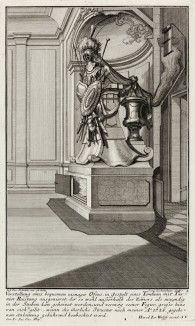 Печь, украшенная рыцарскими доспехами, резанными из мрамора. Johann Jacob Schueblers Beylag zur Ersten Ausgab seines vorhabenden Wercks. Нюрнберг, 1730