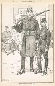 Солдаты первого гренадерского полка шведской лейб-гвардии в полевой форме образца 1900 г. Svenska arméns munderingar 1680-1905. Стокгольм, 1911