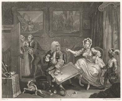 Карьера шлюхи, гравюра 2 «Ссора с богатым покровителем», 1732. Молл живет на содержании у богатого еврея и изменяет ему с молодым любовником. На гравюре: девушка устраивает сцену хозяину, пока любовник убегает. Лондон, 1838