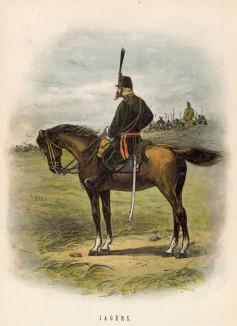 Голландский конный егерь (иллюстрация к работе Onze krijgsmacht met bijshriften... (голл.), изданной в Гааге в 1886 году)