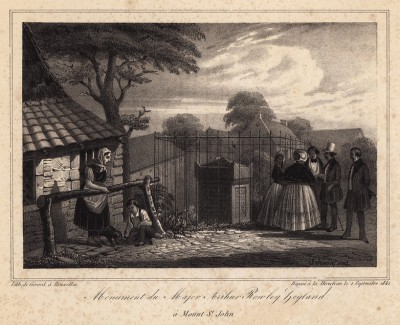 Могила майора Артура Роули в Ватерлоо (литография с рисунка, выполненного под руководством генерала Анри Жомини во время его прогулки по Ватерлоо 1 сентября 1842 года. Брюссель. 1846 год)