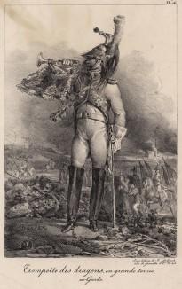 Трубач гвардейских драгун в парадной форме (редкая литография Н.-Т. Шарле, посвящённая гвардии недавно свергнутого Наполеона. Париж. 1817 год)