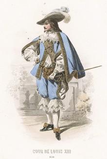 Моды при дворе короля Людовика XIII. Костюм дворянина: камзол, кружевной воротник, жабо, муфта, кюлоты из бархата и с кружевами, чулки и башмаки на каблуке.