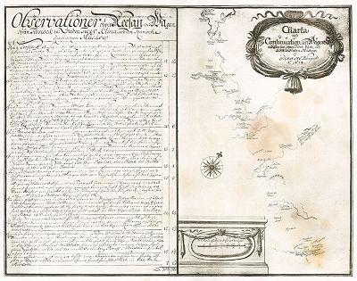 """Карта пути из Торжка в Москву через Тверь и Клин. """"Заметки о России, составленные Эриком Пальмквистом в 1674 году"""". Репринт 1898 года."""