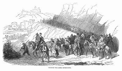 Удручающая сцена бегства жителей испанской деревни, порождённого Первой карлистской войной, гражданской войной в Испании, продолжавшейся с 1833 по 1839 год (The Illustrated London News №96 от 02/03/1844 г.)