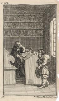 Гудибрас и адвокат. Конец истории про Гудибраса. Рыцарь-пуританин приходит к известному адвокату жаловаться на своих обидчиков. Иллюстрация к поэме «Гудибрас». Лондон, 1732