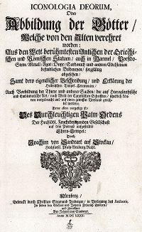 """Титульный лист издания """"Iconologia Deorum,  oder Abbildung der Götter ..."""", Нюренберг, 1680"""