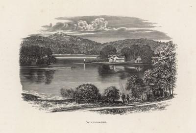 """Домик на берегу озера Виндермир, что в Озёрном крае Англии (иллюстрация к работе """"Пресноводные рыбы Британии"""", изданной в Лондоне в 1879 году)"""