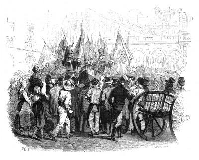 1 января 1806 г. пятьдесят четыре знамени, захваченные в битве при Аустерлице, привезены в Париж и торжественно переданы в Люксембургский дворец для украшения зала заседаний Сената. Histoire de l'empereur Napoléon. Париж, 1840