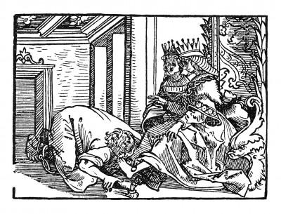 Благодарность за освобождение. Иллюстрация Йорга Бреу Старшего к описанию путешествия на восток Лодовико ди Вартема: Ludovico Vartoman / Die Ritterliche Reise. Издал Johann Miller, Аугсбург, 1515