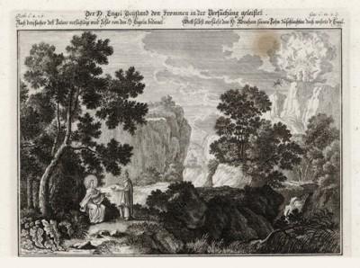 Дьявол искушает Иисуса в пустыне (из Biblisches Engel- und Kunstwerk -- шедевра германского барокко. Гравировал неподражаемый Иоганн Ульрих Краусс в Аугсбурге в 1694 году)