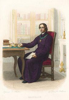Жан-Батист Масийон (1663-1742) - епископ клермонский и знаменитый проповедник .Лист из серии Le Plutarque francais..., Париж, 1844-47 гг.