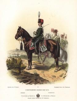 Кавалерист 11-го вестфальского гусарского полка прусской армии в униформе образца 1870-х гг. Preussens Heer. Берлин, 1876