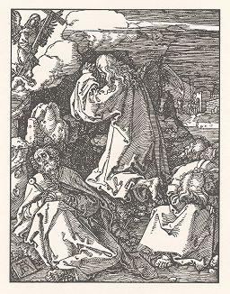 """Христос на Масличной горе. Ксилография, выполненная по гравюре Альбрехта Дюрера 1510 года из издания """"Albrecht Dürer. Sein Leben und einer Auswahl seiner Werke"""", Мюнхен, 1910 год"""