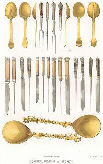Ложки, вилки и ножи. Древности Российского государства..., отд. V, лист № 58, Москва, 1853.