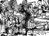 Рыцарь освобождает пленных. Иллюстрация Йорга Бреу Старшего к описанию путешествия на восток Лодовико ди Вартема: Ludovico Vartoman / Die Ritterliche Reise. Издал Johann Miller, Аугсбург, 1515