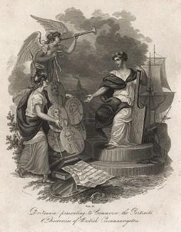 Британия гордится открытиями своих мореплавателей. A New Geographical Dictionary. Лондон, 1820