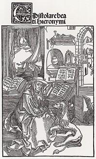 Святой Иероним вынимает колючку из лапы льва (cвятой Иероним (342--420) -- создатель канонического латинского текста Библии и покровитель переводчиков)