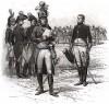 1799 год. Дивизионный генерал французской армии читает депешу, доставленную адъютантом генерального штаба (из Types et uniformes. L'armée françáise par Éduard Detaille. Париж. 1889 год)