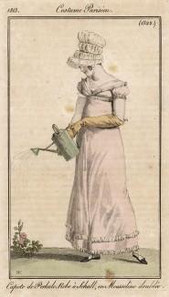 Девушка с лейкой. Почти как у Родченко, но на 120 лет раньше и не с фотоаппаратом. Из первого французского журнала мод эпохи ампир Journal des dames et des modes, Париж, 1813. Модель № 1322