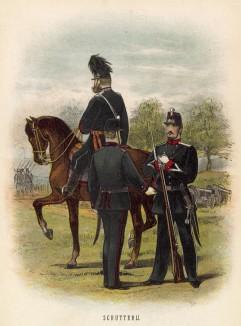 Стрелок, унтер-офицер и офицер голландской армии (иллюстрация к работе Onze krijgsmacht met bijshriften... (голл.), изданной в Гааге в 1886 году)