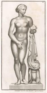 Венера-купальщица (статуя из садов Ватикана) (из Raccolta di Statue Antiche e Moderne Data in Luce sotto i Gloriose Auspici della Santita di N.S. Papa Clemente XI da Domenico de Rossi. Рим. 1704 год. Лист IV)