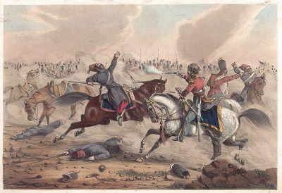 Крымская война 1853-56 гг. Схватка казаков и английской кавалерии. Лондон, 1850-е гг.