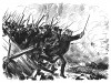 Семилетняя война 1756-1763 гг. Атака прусской пехоты в сражении при Лейтене 5 декабря 1757 года. Илл. Адольфа Менцеля. Geschichte Friedrichs des Grossen von Franz Kugler. Лейпциг, 1842, с.362