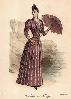 Розовое пляжное платье с белыми оборками и элегантный парасоль в тон платью. Из французского модного журнала Le Coquet, выпуск 255, 1889 год