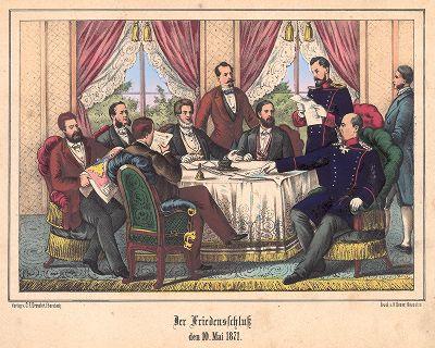 Франко-прусская война 1870-71 гг. Бисмарк на подписании мирного договора между Германской империей и французской республикой 10 мая 1871 г. во Франкфурте. Редкая немецкая литография