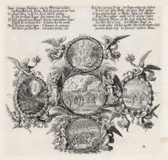 Пять сцен из Ветхого Завета (из Biblisches Engel- und Kunstwerk -- шедевра германского барокко. Гравировал неподражаемый Иоганн Ульрих Краусс в Аугсбурге в 1694 году)