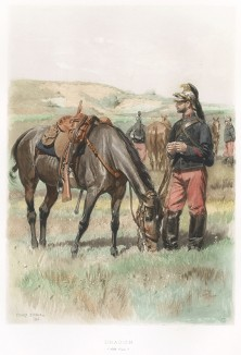 Офицер французских гусар в 1886 году (из Types et uniformes. L'armée françáise par Éduard Detaille. Париж. 1889 год)