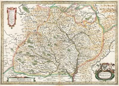 Карта Моравии. Marchionatus Moraviae. Auct. I.Comenio. Составил чешский картограф Иоанн Амос Комениус. Издал Хенрикус Хондиус. Амстердам, 1658